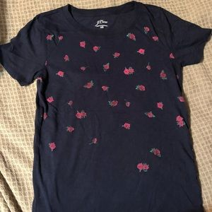 J Crew limited edition rose print tee